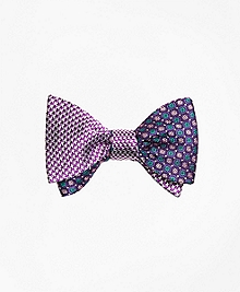 Houndscheck with Mini Flower Reversible Bow Tie