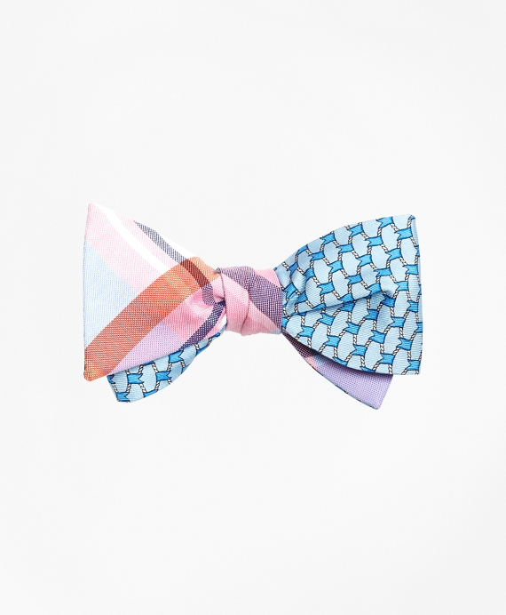 Plaid with Flag Link Print Reversible Bow Tie Pink-Blue