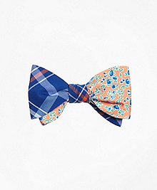Plaid with Ditsy Floral Print Reversible Bow Tie