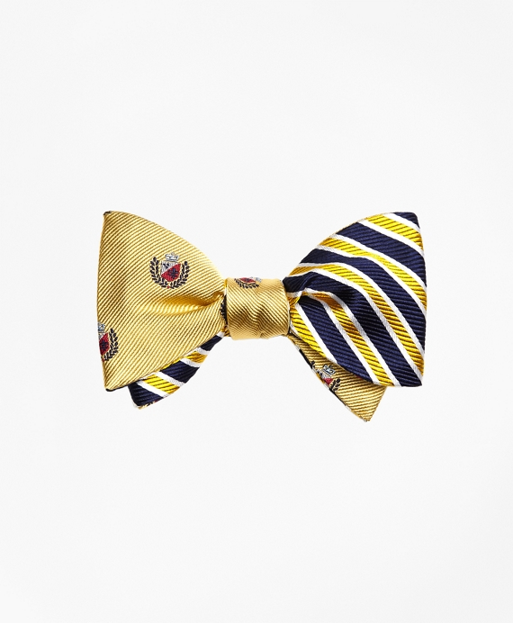 Crest with Framed Stripe Reversible Bow Tie