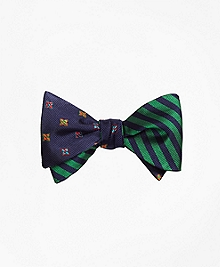 Multi Flower with BB#5 Stripe Reversible Bow Tie