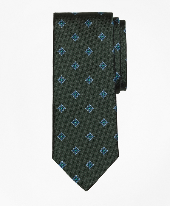 Herringbone Starburst Tie Green