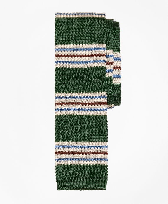 Triple Stripe Knit Tie Green