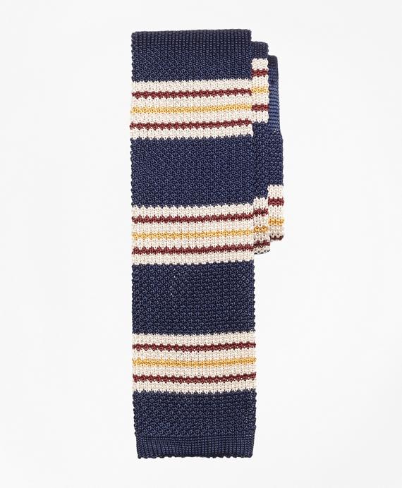 Triple Stripe Knit Tie Navy