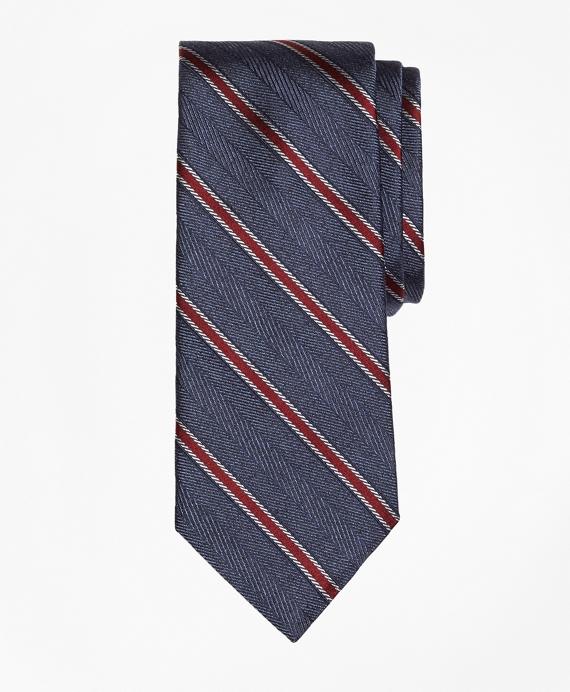 Herringbone Framed Stripe Tie Navy
