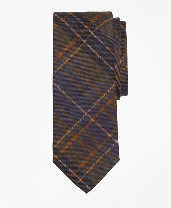Ancient Madder Plaid Print Tie Green