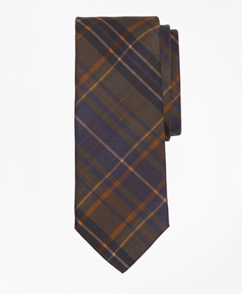 Ancient Madder Plaid Print Tie
