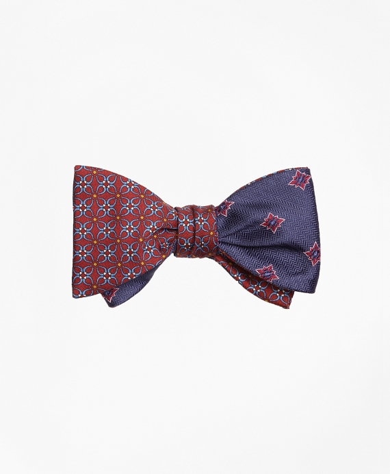 Horseshoe Link with Herringbone Starburst Reversible Bow Tie Red-Navy
