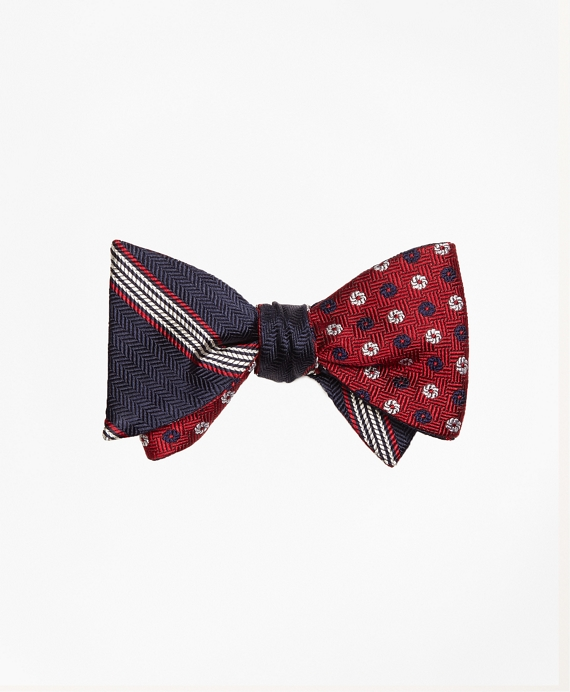 Herringbone Music Stripe with Parquet Pinwheel Reversible Bow Tie Navy-Red