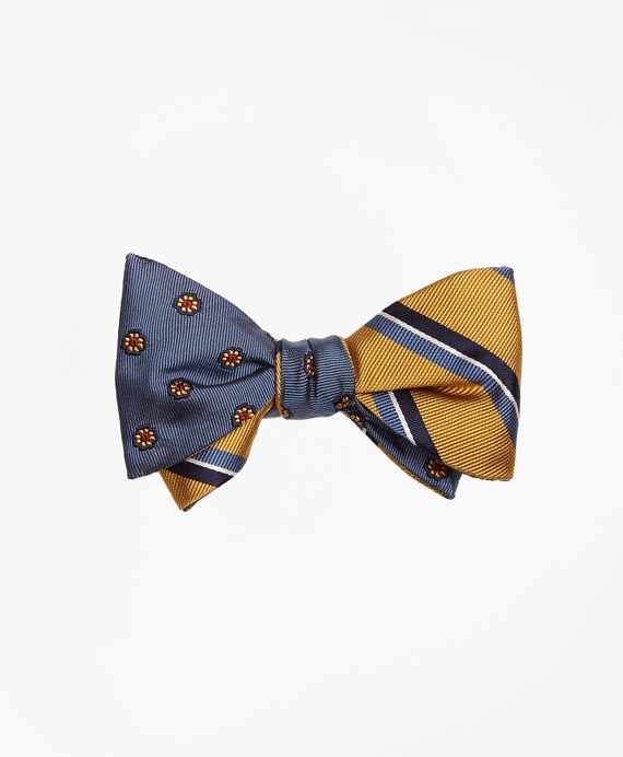Spaced Flower with Split Bar Stripe Reversible Bow Tie
