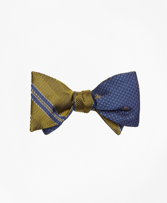 Herringbone Double Stripe with Houndstooth Reversible Bow Tie Green-Blue