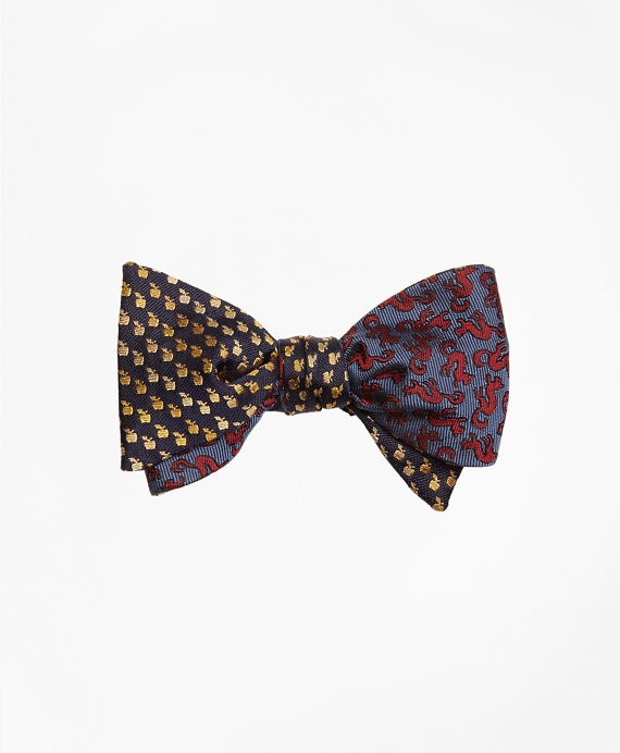 Apple and Squirrel Motif Reversible Bow Tie