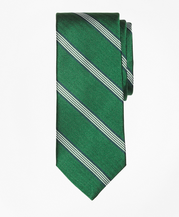 Herringbone Music Stripe Tie Green