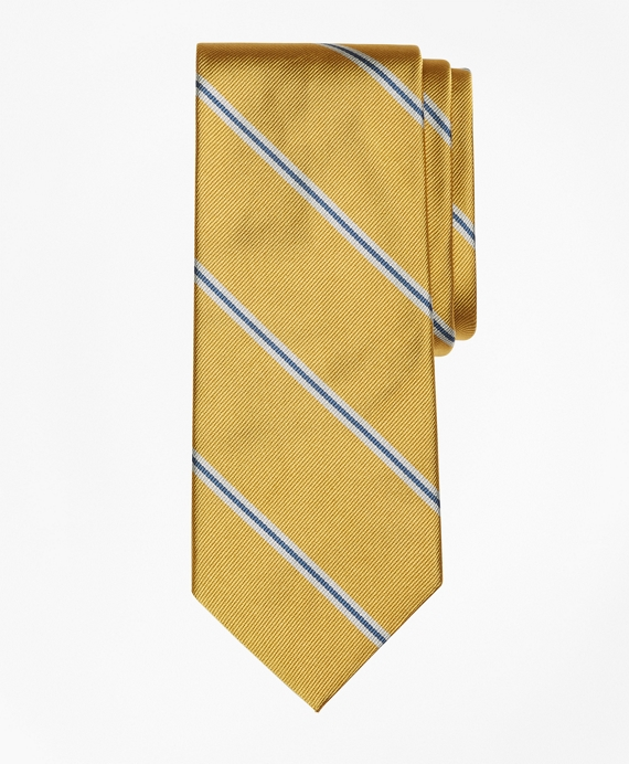 Spaced Bar Stripe Tie Gold