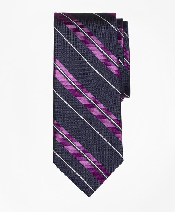 Bold Textured Split Stripe Tie Navy