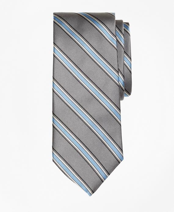 Twill Framed Stripe Tie Grey