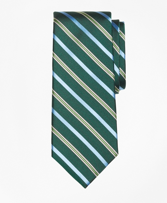 Tonal Alternating Split Stripe Tie Green