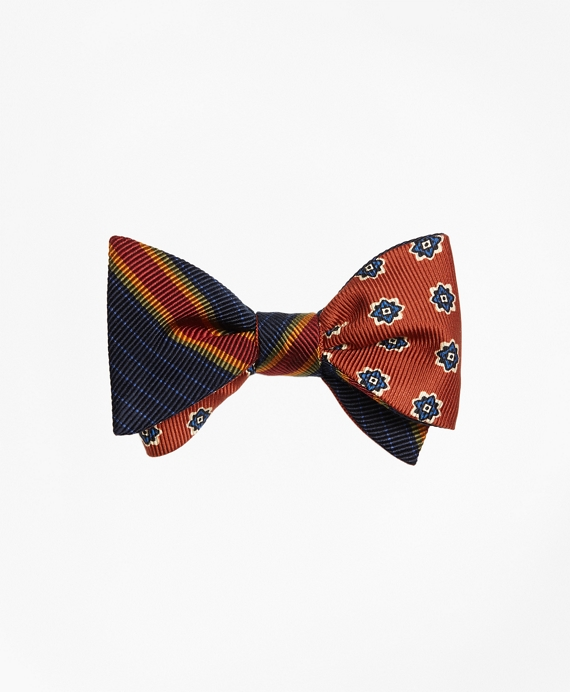 Multi-Framed Stripe with Print Medallion Reversible Bow Tie