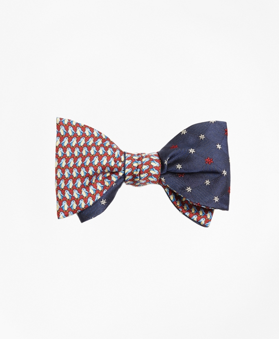 Penguin with Snowflake Reversible Bow Tie