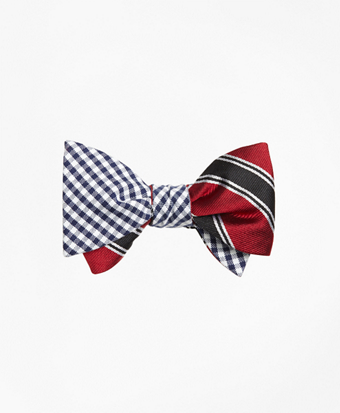 Gingham with Bold Framed Split Stripe Reversible Bow Tie