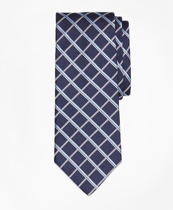 Textured Windowpane Tie Navy