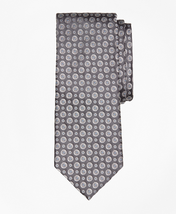 Floral Alternating Medallion Tie Grey