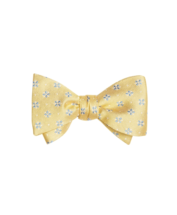 Textured Four-Petal Flower Bow Tie Yellow