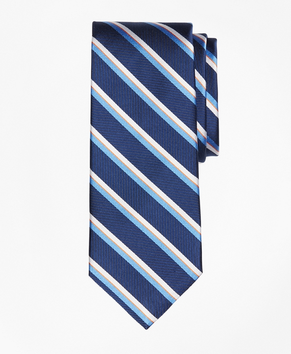 Exploded Herringbone Stripe Tie Navy