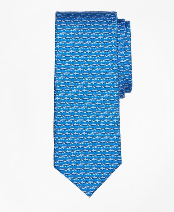 Speed Boat Print Tie Blue
