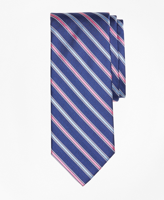 Alternating Rope Framed Stripe Tie Navy
