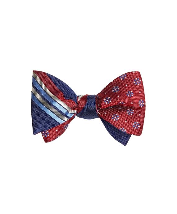 Multi-Textured Sidewheeler Stripe with Textured Four-Petal Flower Reversible Bow Tie