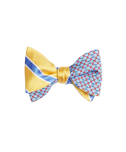 Bold Framed Stripe with Flag and Raft Print Reversible Bow Tie