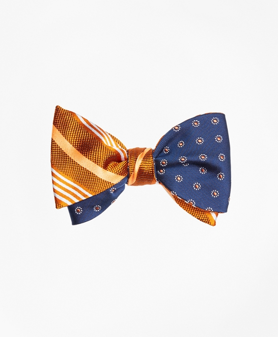Tonal Music Stripe with Framed Polka Dot Reversible Bow Tie Orange-Navy