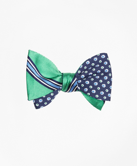 Double-Framed Stripe with Flower and Dot Reversible Bow Tie
