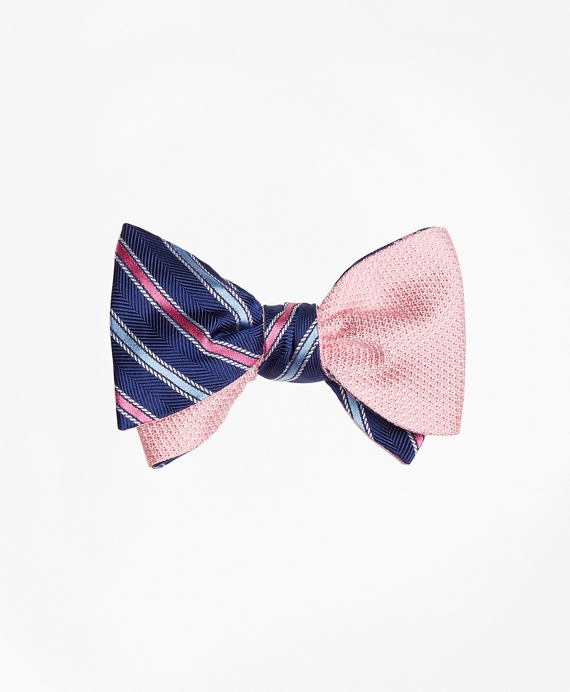 Alternating Stripe with Textured Solid Reversible Bow Tie Navy-Pink