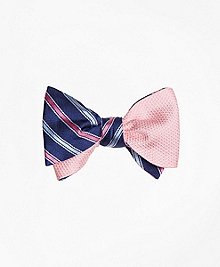 Alternating Stripe with Textured Solid Reversible Bow Tie