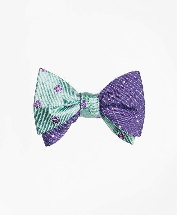 Flower Mini-Dot with Windowpane-Dot Reversible Bow Tie