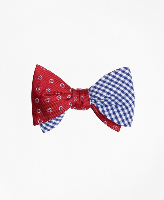 Framed Polka Dot with Gingham Reversible Bow Tie Red-Blue