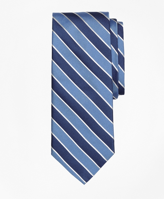Framed Alternating Stripe Tie Blue