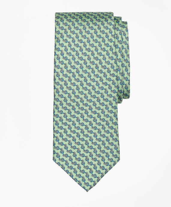 Chain Link Print Tie Green