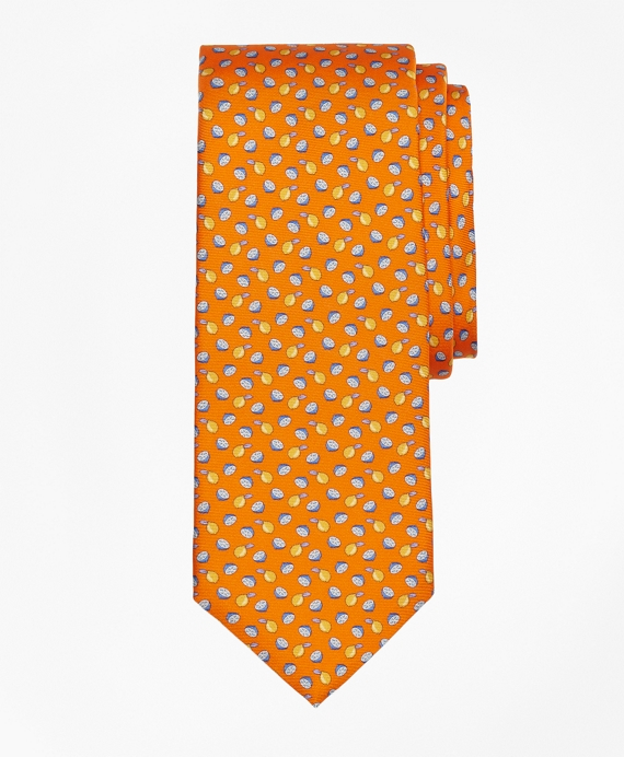 Lemon Motif Print Tie Orange