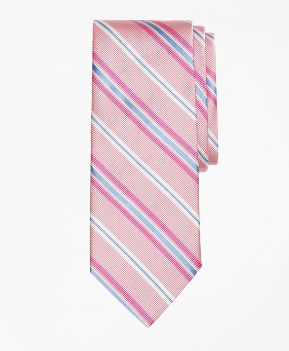 Alternating Split Stripe Tie Pink