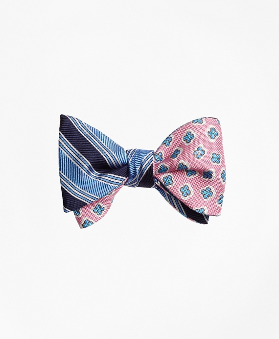 Split BB#1 Stripe with Panama Tossed Flower Print Reversible Bow Tie