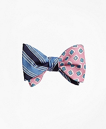Split BB#1 Stripe with Panama Tossed Flower Print Reversible Bow Tie