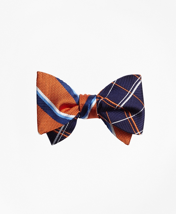 Sidewheeler Double Stripe with Double Alternating Windowpane Reversible Bow Tie Orange-Navy