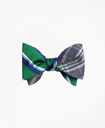 Sidewheeler Double Stripe with Plaid Reversible Bow Tie