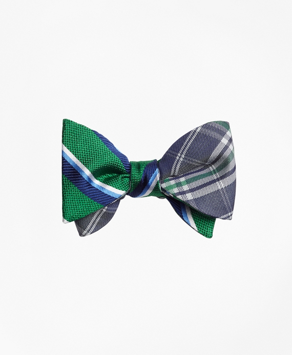 Sidewheeler Double Stripe with Plaid Reversible Bow Tie Green-Navy