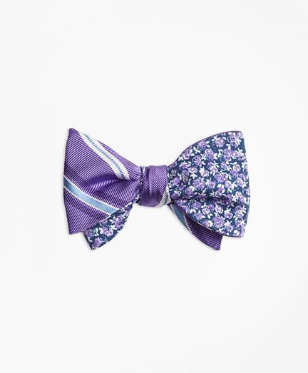Alternating Split Stripe with Mini Rose Reversible Bow Tie