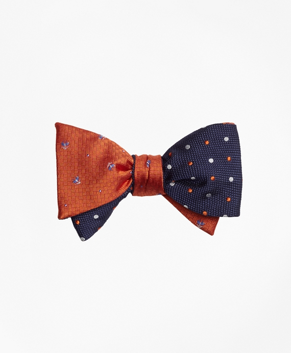 Tossed Golden Fleece® Parquet with Alternating Dot Reversible Bow Tie Orange-Navy
