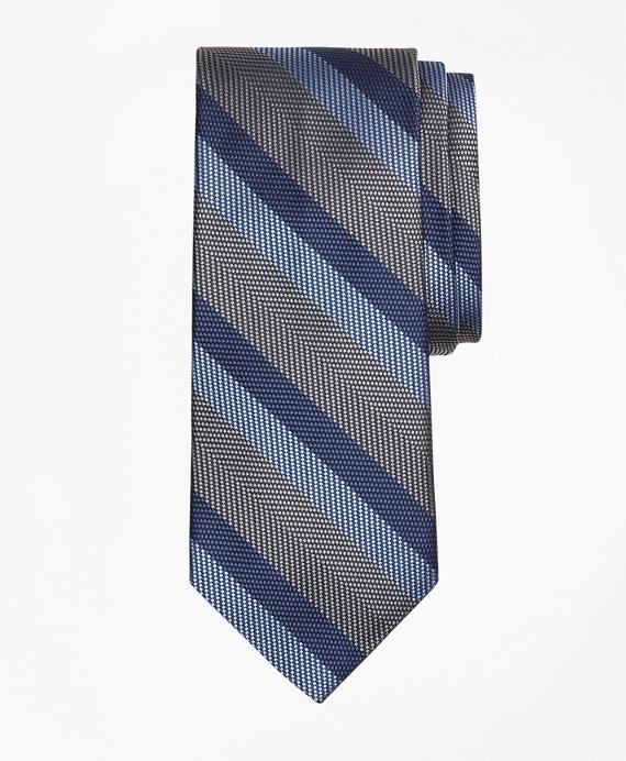 Dotted Herringbone Stripe Tie Grey